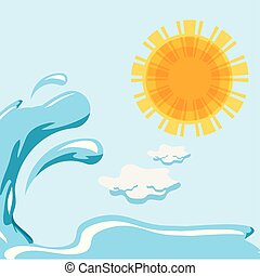 hot with sea isolated icon