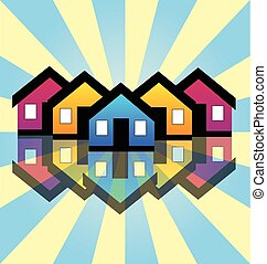 Houses real estate card logo