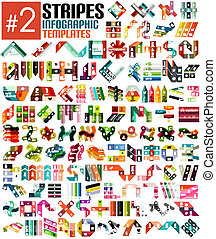 Huge set of stripe infographic templates #2 for business background   numbered banners   business lines   graphic website
