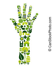 Hand shape made with environmental icons set.