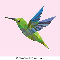 Humming bird flying with triangle geometry decoration. Good use for any design you want. Easy to use.