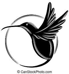 An image of a black hummingbird.