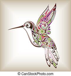 Illustration of abstract hummingbird.