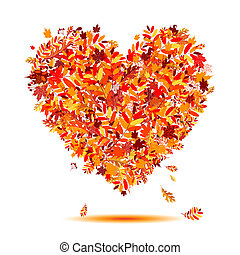 I love autumn! Heart shape from falling leaves