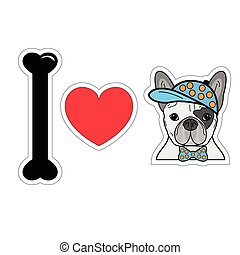 I love French bulldog hipster 2