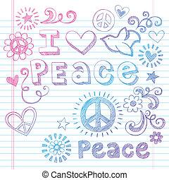I Love Peace Dove Sketchy Doodles