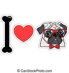 I love pugs with hipsters glasses 2