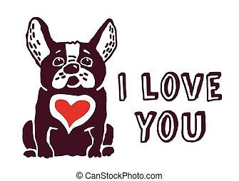 I love you cute dog red heart card