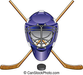 Illustration of an ice hockey goalie mask, sticks and puck. Great for logos.
