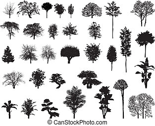 ikon vector silhouettes of trees