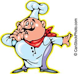illustrated nice chef isolated on white background