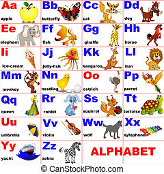 animals placed on letter of the alphabet