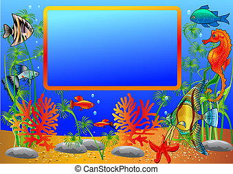 illustration frame with undersea fish and algae