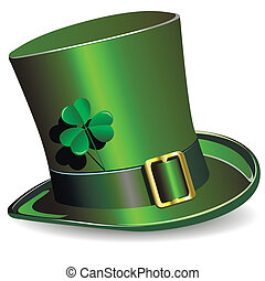 illustration, green St. Patrick's Day hat with clover