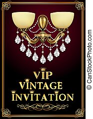 Illustration luxury chandelier background for vintage vip invitation