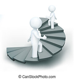 illustration of 3d characters climbing steps of success on an isolated white background