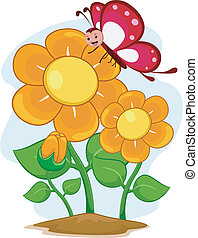 Happy Butterfly Mascot with Flowers