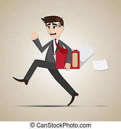 illustration of cartoon businessman in rush hours