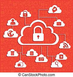 illustration of cloud technology locked, network security, vector illustration