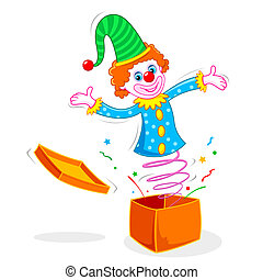Clown coming out of Box