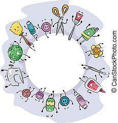 Illustration of Craft Materials Gathered Together