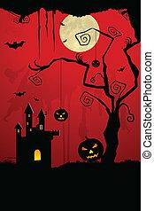 illustration of dark scary halloween night