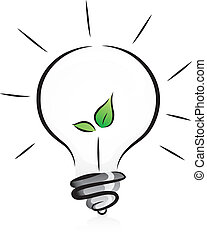 Illustration of Eco-Friendly Light Bulb with Seedling in in Black and White with Green Color Accent
