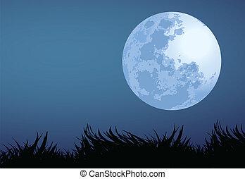 illustration of full moon night.