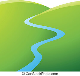 Illustration of Green Hills and Blue River isolated on a white background