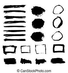 Grunge Paint Watercolor Ink Texture Elements Set. Banners, Frame
