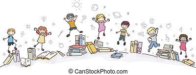 Stickman Kids Jumping with Books