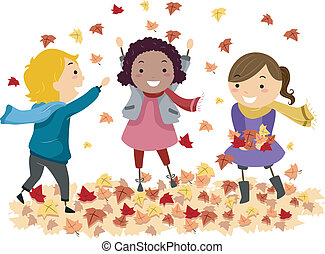 Illustration of Stick Kids Playing with Autumn Leaves