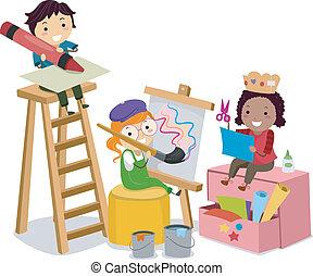 Illustration of Stickman Kids making Arts and Crafts