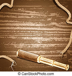 Illustration of the antique brass telescope and rope at wooden background