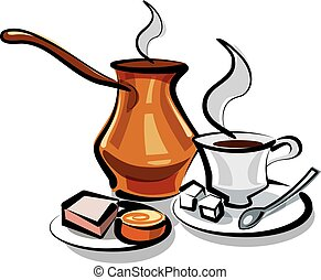 illustration of traditional turkish coffee with sweets