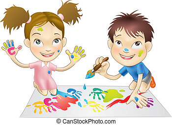 illustration of two young children playing with paints