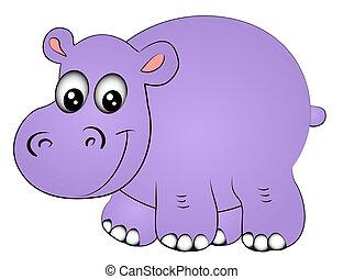 illustration rhinoceros hippopotamus one insulated on white