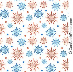 Seamless Pattern firework for Independence Day of USA, Wallpaper for American Holidays