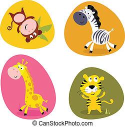 Vector cartoon illustration of monkey, tiger, giraffe and zebra