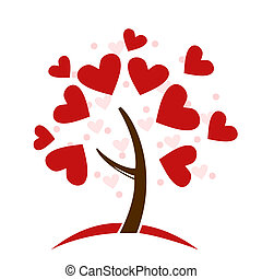 Illustration stylized love tree made of hearts - vector
