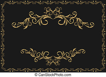 Illustration the luxury gold pattern ornament borders of black background - vector