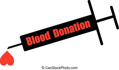 black syringe with word BLOOD DONATION and heart shape blood