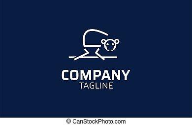 Illustration vector logo template of monkey in line art style