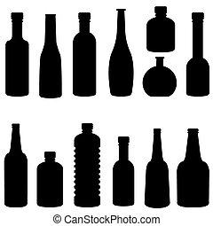 silhouette of bottle set vector