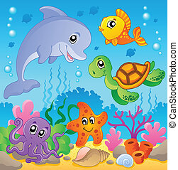 Image with undersea theme 2 - vector illustration.