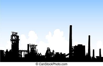 Detailed editable vector illustration of an industrial skyline