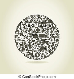 Sphere made of the industry. A vector illustration