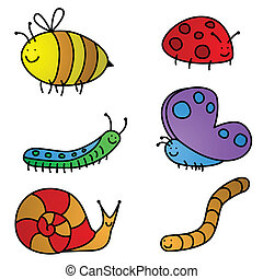 Six colorful, vector garden friend cartoon characters