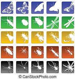 Set of 25 beveled insect and spider icons