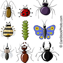 Insects on a white background, vector illustration